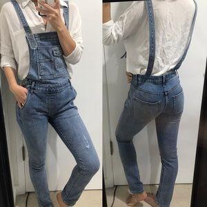 Free people denim skinny overalls